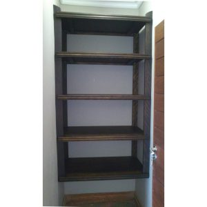 Fitted adjustable shelves in Mahogany finish