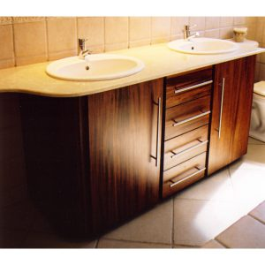 His and hers bathroom cabinet with doors and drawers in African Mahogany