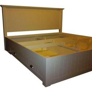 King size bed with head board, tongue and groove detail and two storage drawers in white lacquered finish