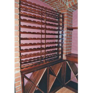 Wine racks and shelving in cellar in African Mahogany