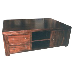 Square coffee table with shelf, door and drawers in African Mahogany