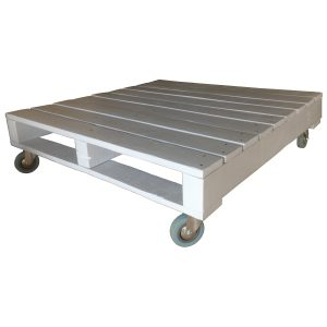Light grey coffe table on casters made from a reconstructed pallet.