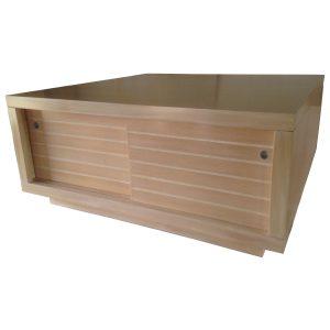 Square coffee table with sliding doors from Okoumé and Okoumé veneer. #1729