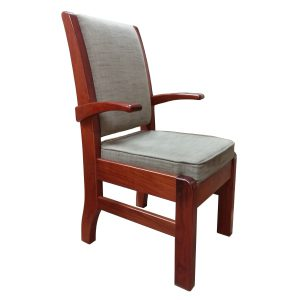 Conference chair in Rhodesian Teak with upholstered seat and back rest.