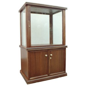 Four-sided display cabinet in African Mahogany