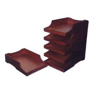 Stackable document trays in African Mahogany