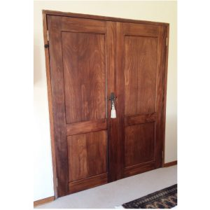 Custom made double doors in stained Okoume
