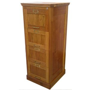 Filing cabinet with four drawers for suspended files and central locking in Rhodesian Teak