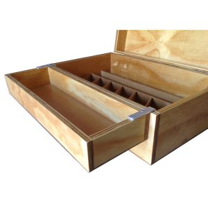 Fishing bait box with partitions and loose utility tray in Pine plywood