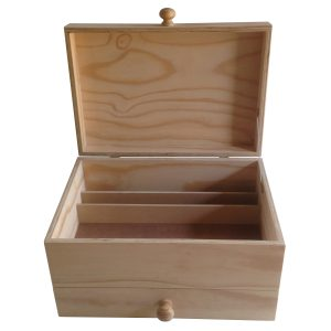 Fishing bait box with partitions, hinged lid and drawer