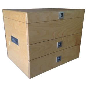 Fishing Tackle Box with lid, drawers and recessed handles in Birch plywood