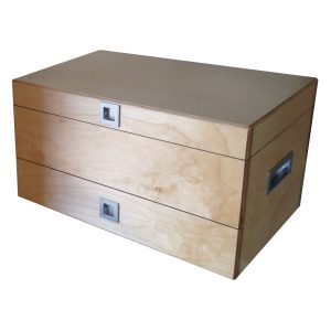 Fishing Tackle Box with lid, two drawer and recessed handles in Birch plywood