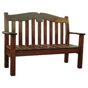 Two seat garden bench in stained Meranti