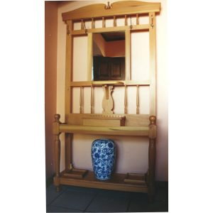 Cape-Dutch style hall stand with brass coat hooks and mirror
