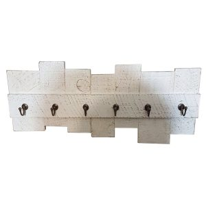Six hook keyrack in white washed reclaimed timber