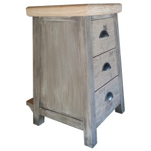 Kitchen stool with drawers and foot rest with paint effect
