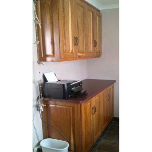 Floor cabinet and wall cabinet in Rhodesian Teak