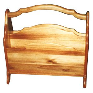 Magazine rack with handle and two compartments in Knysna Black wood