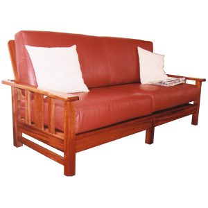 Morris style two seater couch with leather cushions in African Mahogany