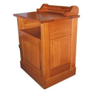 Night stand with open shelf, door and scroll decoration in solid Chamfutta