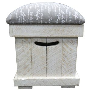 Rectangular ottoman with finger grips in white washed rustic timber