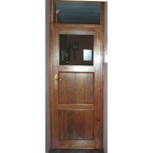 Two-panel door and frame in Kiaat