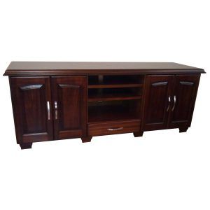 Plasma stand with shelves, drawer and doors in African Mahogany