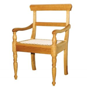 Regency style carver chair with riempie seat in Red Oak