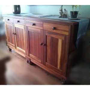 Twin piece side board with doors and drawers in Knysna Blackwood