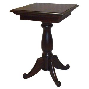 400mm Square side table with turned pedestal leg in African Mahogany