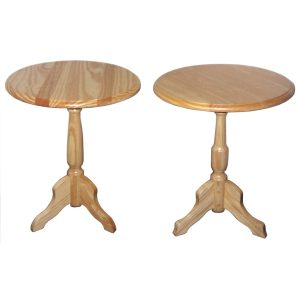 400mmØ Side tables with turned pedestal leg in Clear Pine