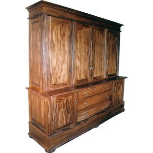Colonial style study cabinet with doors and drawers in African Mahogany