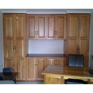 Built-in study cabinets with work top in Rhodesian Teak