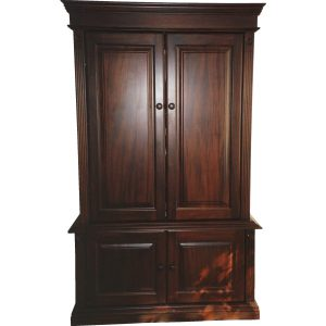 Colonial style TV cabinet with pocket doors in African Mahogany