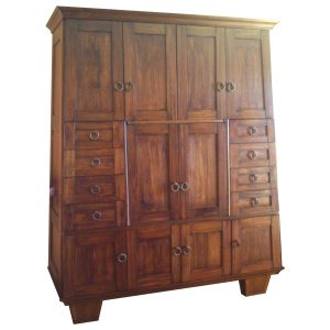 TV cabinet with sloping sides and front, pocket doors, drawers and wine rack in stained Saligna
