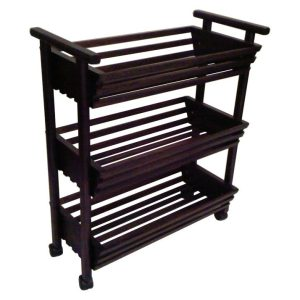 Towel trolley with slatted baskets in Mahogany finish