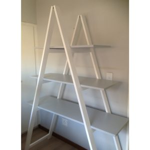 Trestle shelf with three shelves and clothes rail in white and grey painted wood