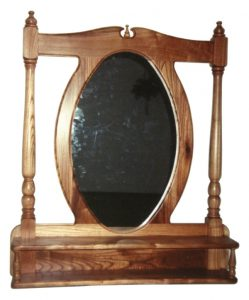 Cape Dutch style wall mirror with two shelves in Seringa wood