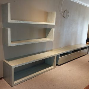 Modern wall unit with shelves and drawers in American Ash with paint effect