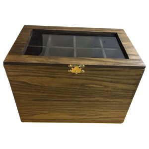 Watch box glass lid and gold colored lid catch. #1731