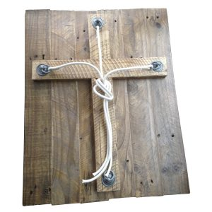 700×550mm Board with cross and rope to be plaited in distressed reclaimed timber