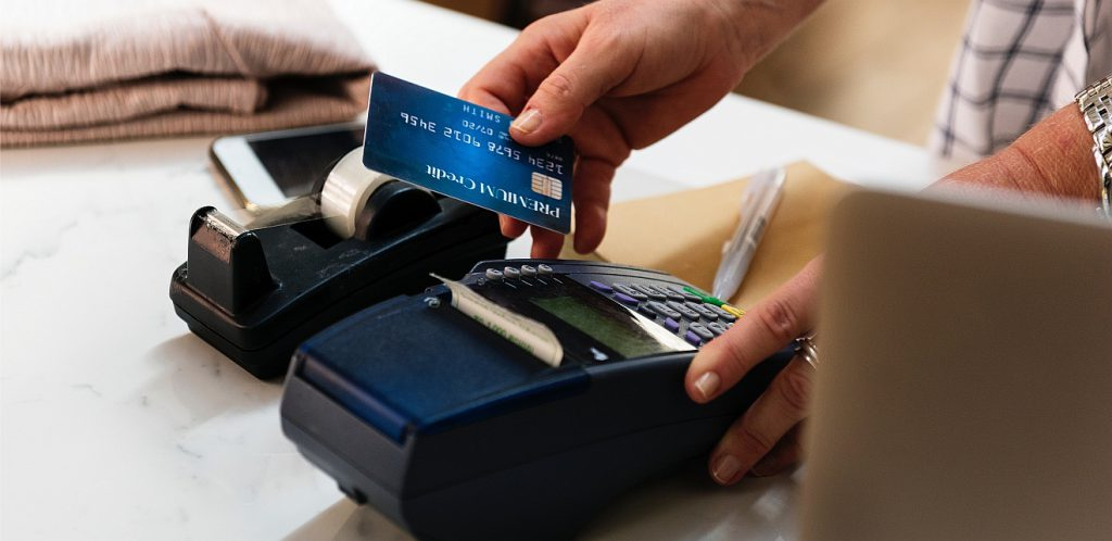 Person swiping card
