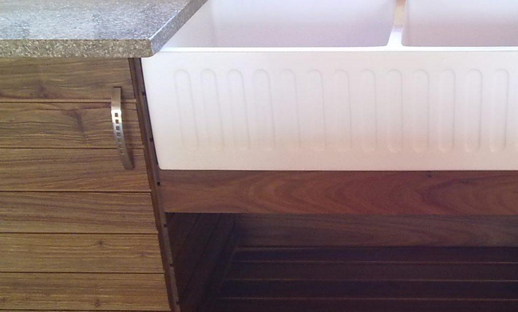 Kiaat kitchen cabinet with butler sink and granite top