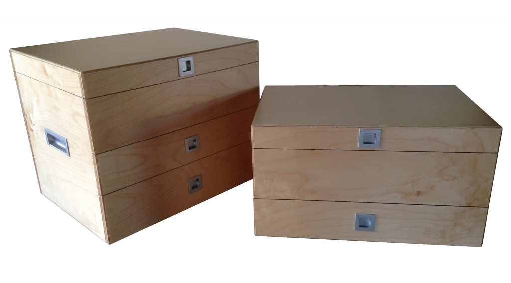 Fishing tackle boxes made from Birch Plywood.