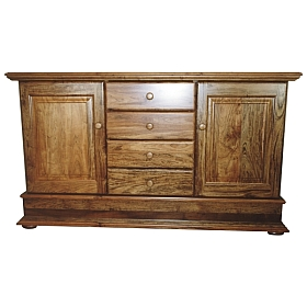 Side board with two doors and four stacked drawers in Rhodesian Teak. #0309