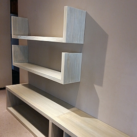 Wall unit in American Ash with paint effect. #1514